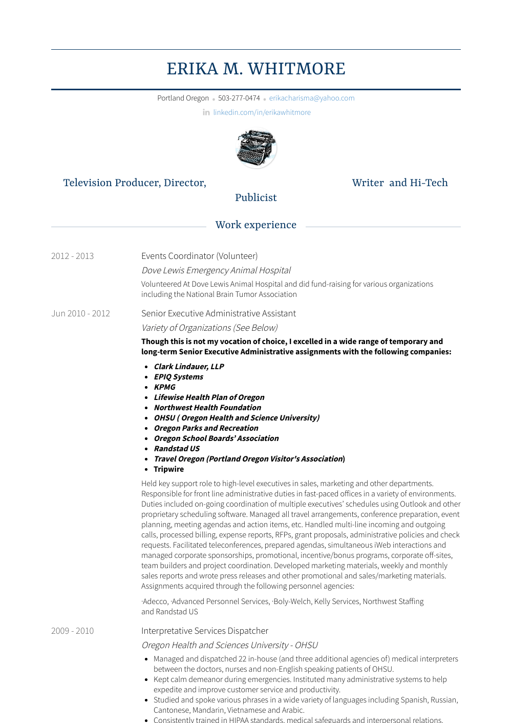 Senior Executive Administrative Assistant Resume Sample and Template