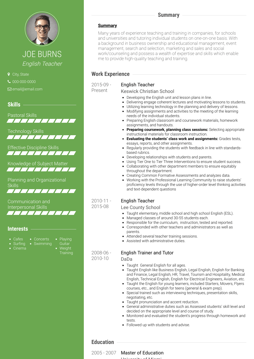 Esl Teacher - Resume Samples and Templates | VisualCV