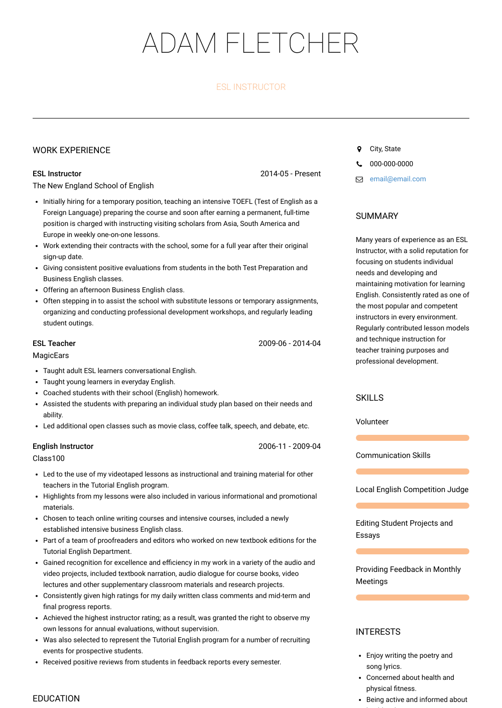 Esl Instructor Resume Sample and Template