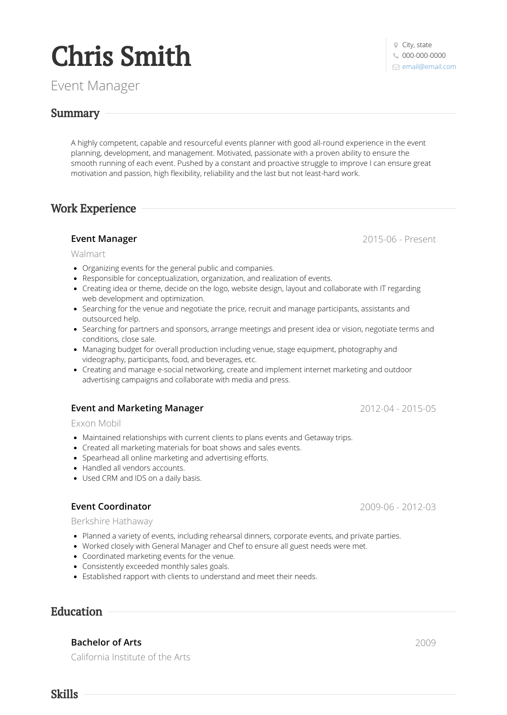Event Manager Resume Sample