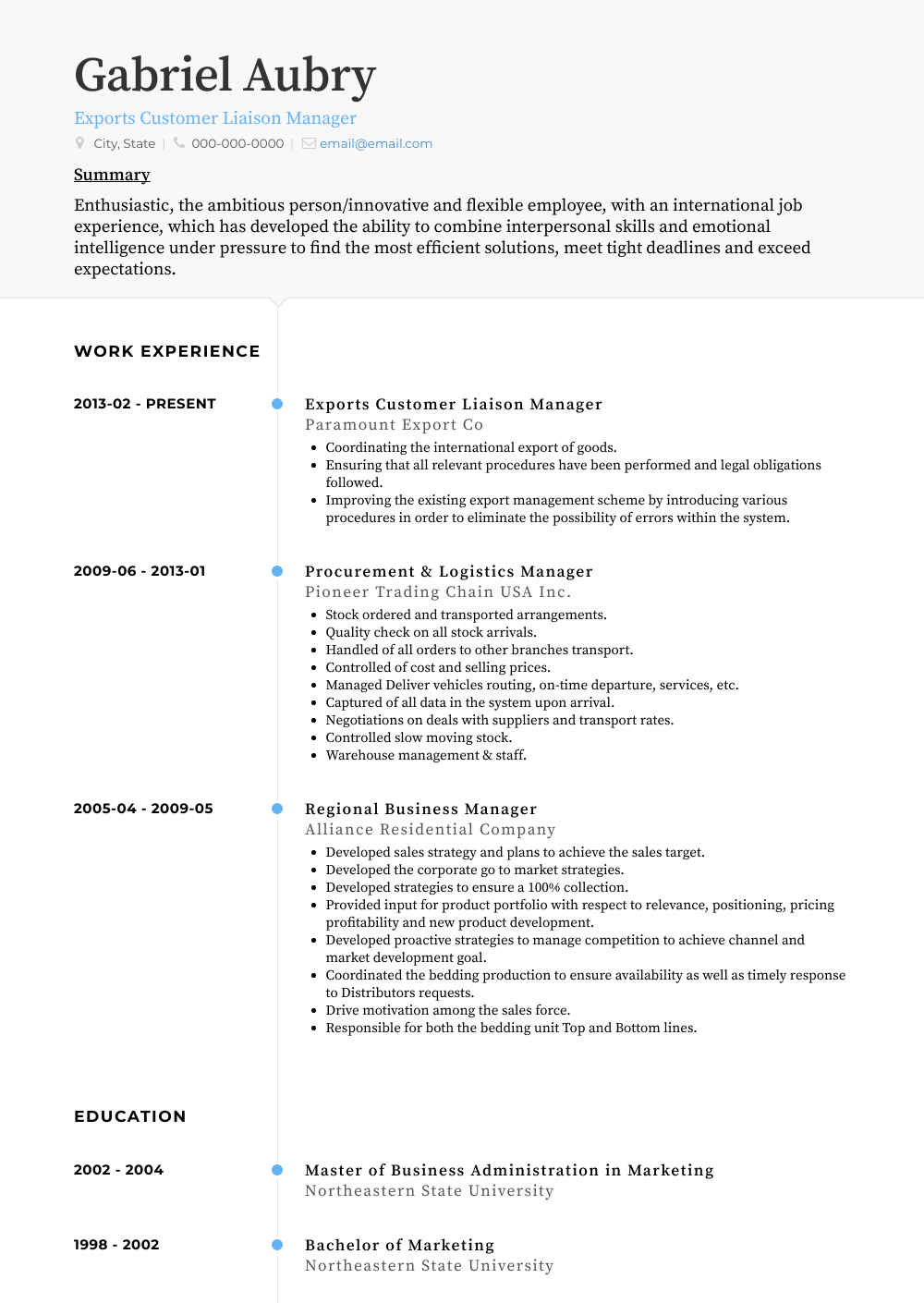 Exports Customer Liaison Manager Resume Sample and Template