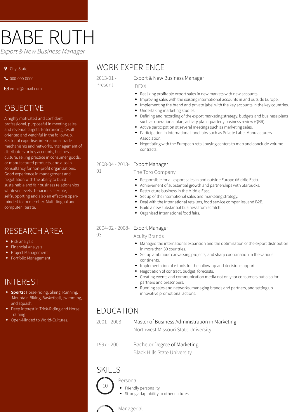 Export & New Business Manager Resume Sample and Template