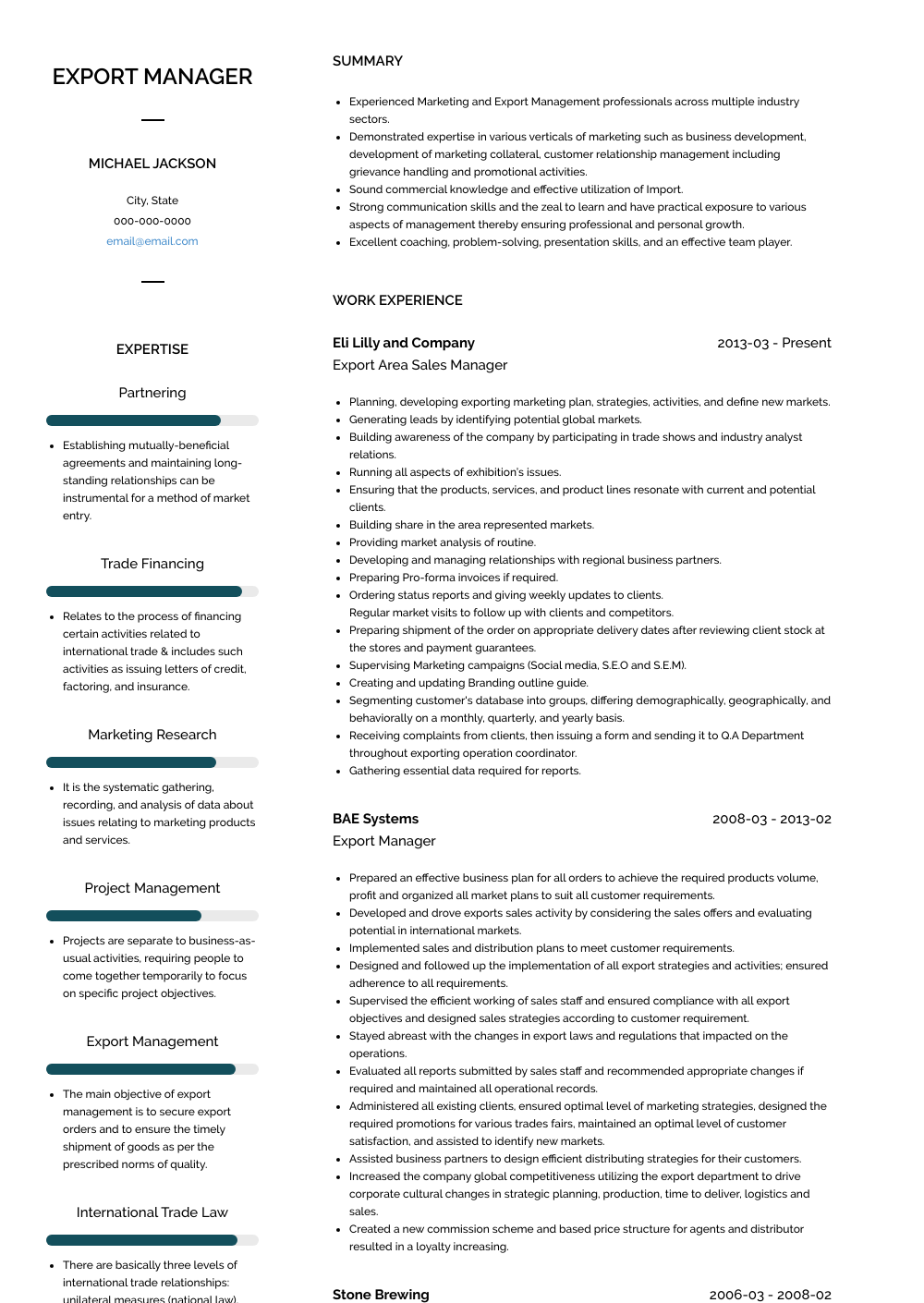 Export Manager Resume Sample and Template