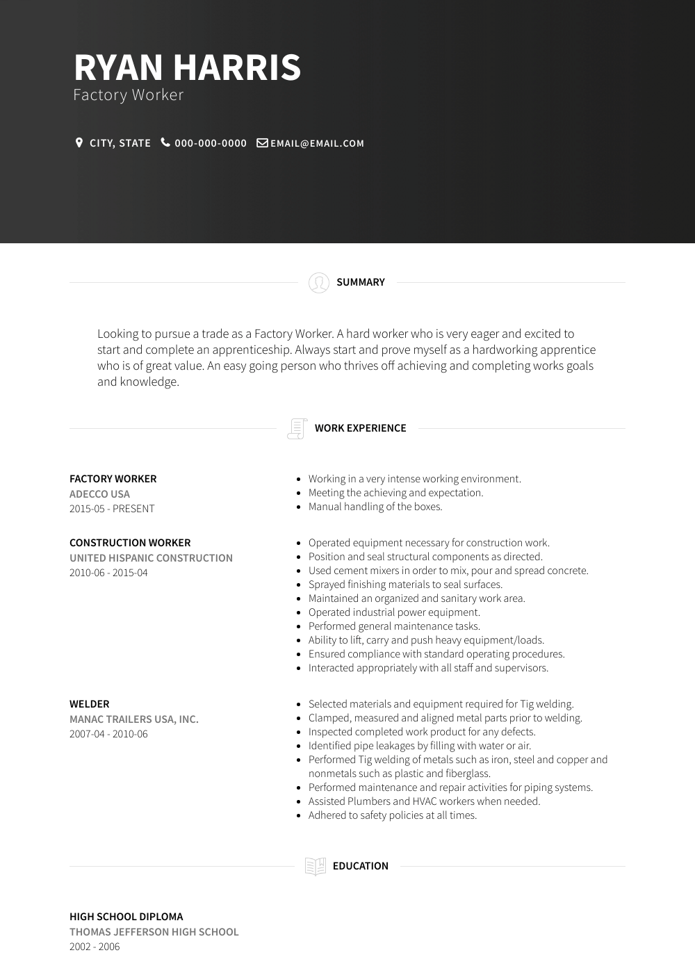 Factory Worker Resume Sample and Template