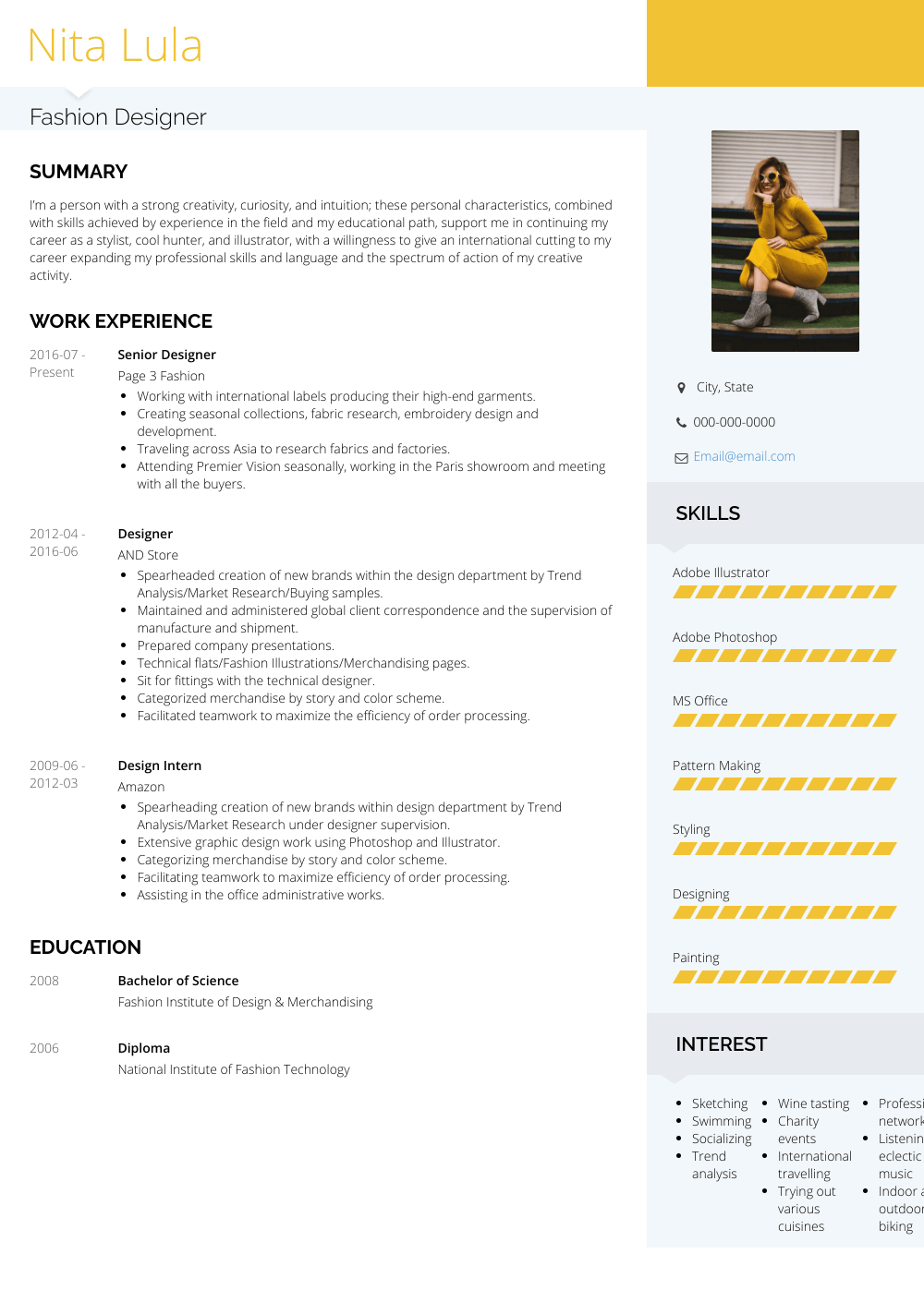 Fashion Fashion Designer Resume Format For Fresher Pdf