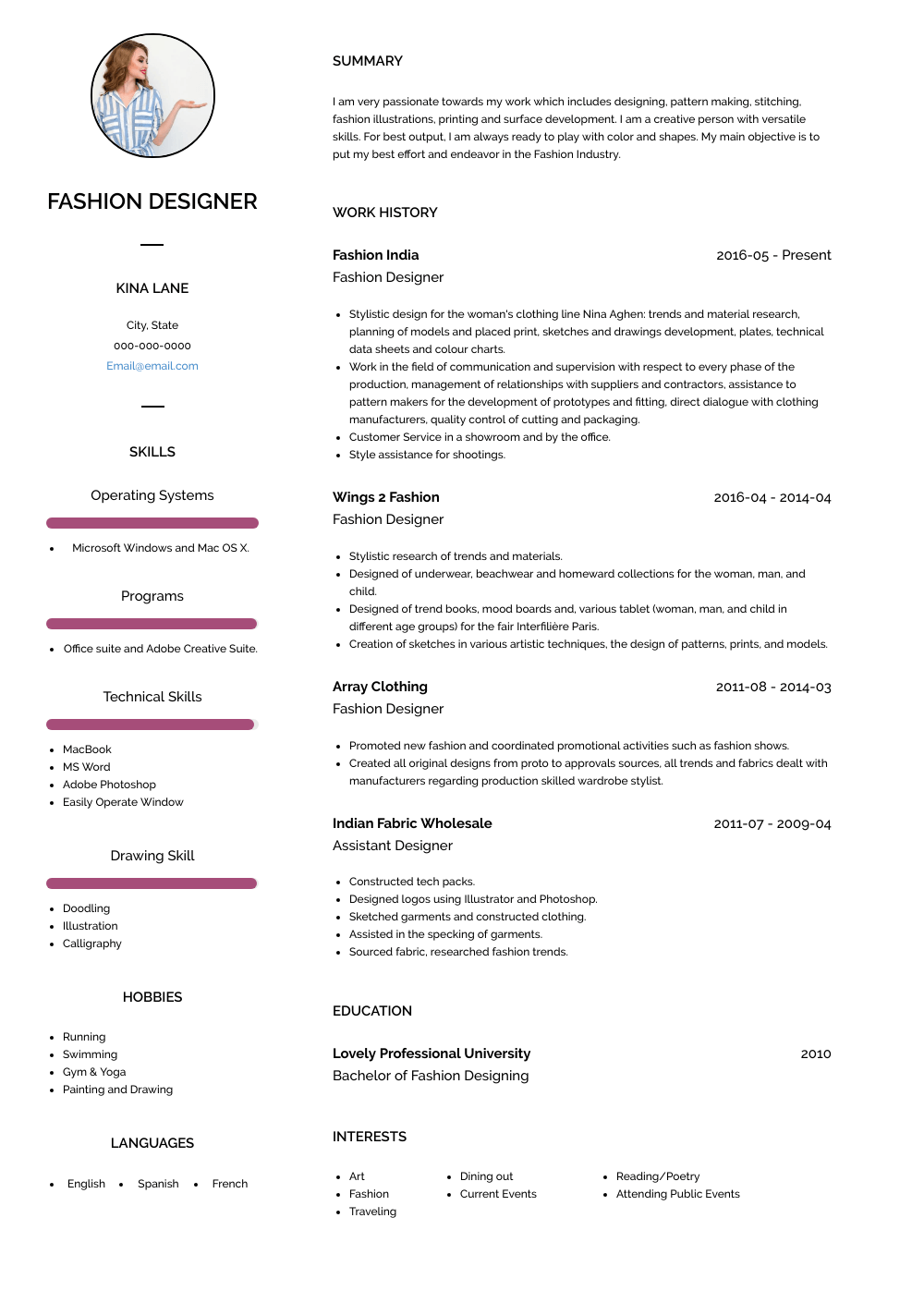 Fashion Designer  Resume Sample and Template