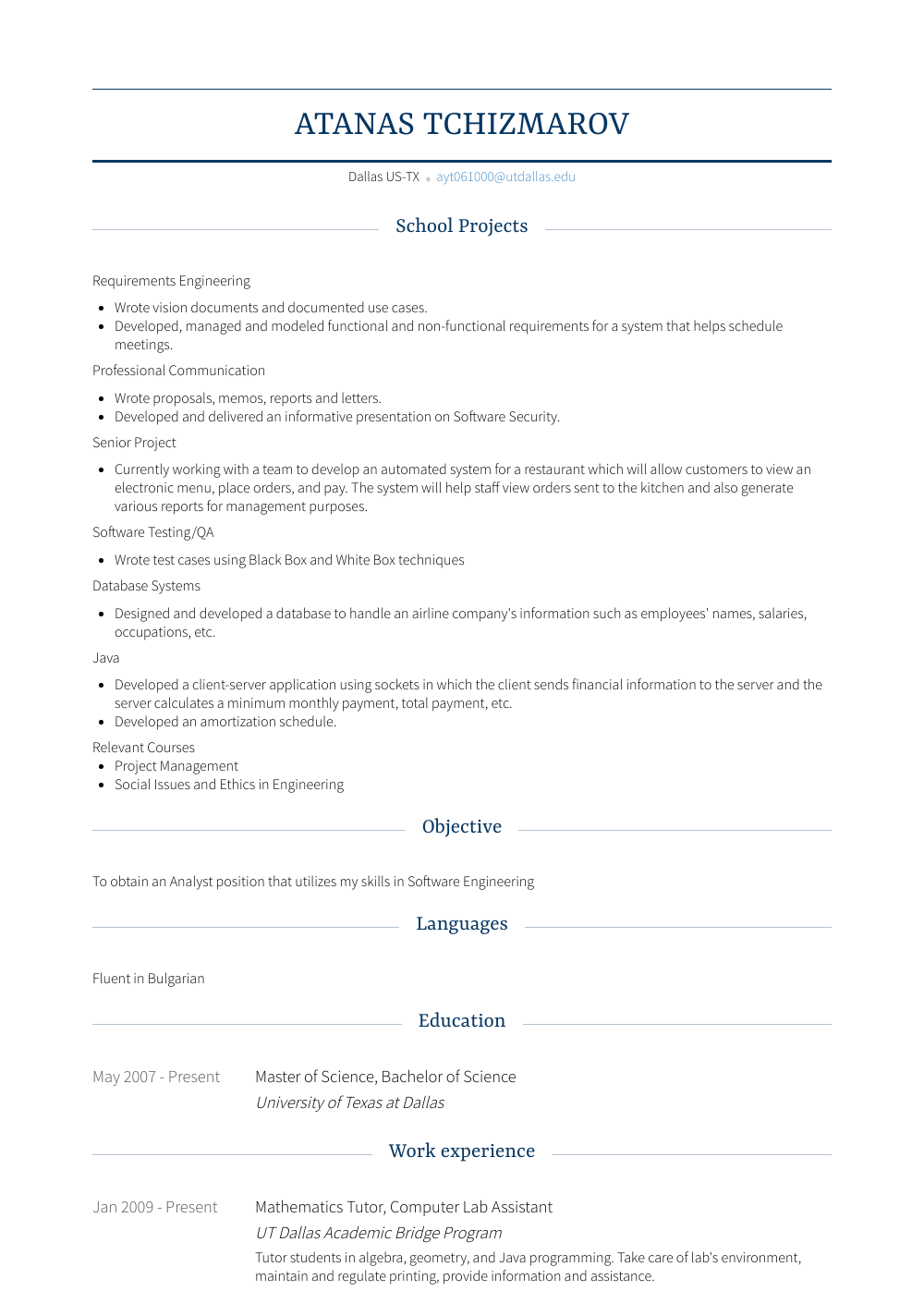 Mathematics Tutor Resume Sample