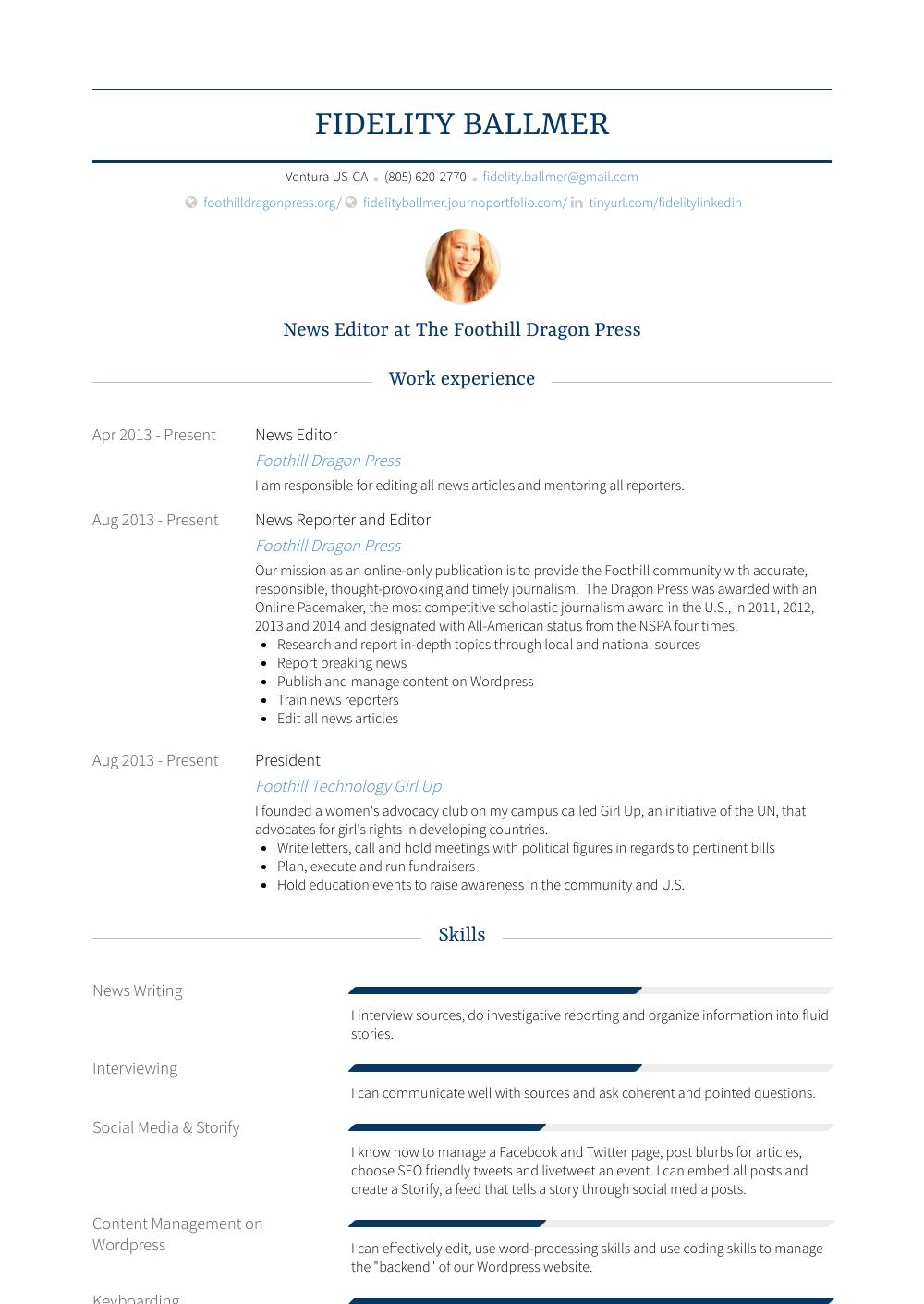 news editor  resume samples and templates  visualcv