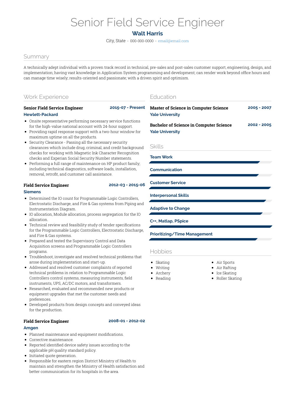 Field Service Engineer Resume Sample