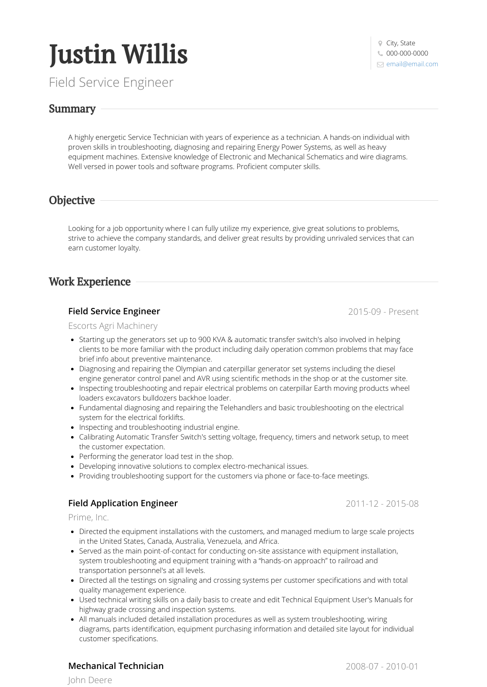 Field Service Engineer Resume Sample and Template