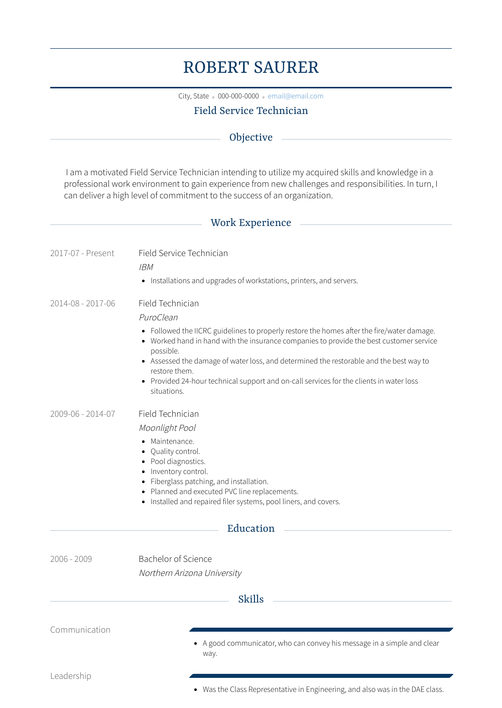 Field Service Technician Resume Sample and Template