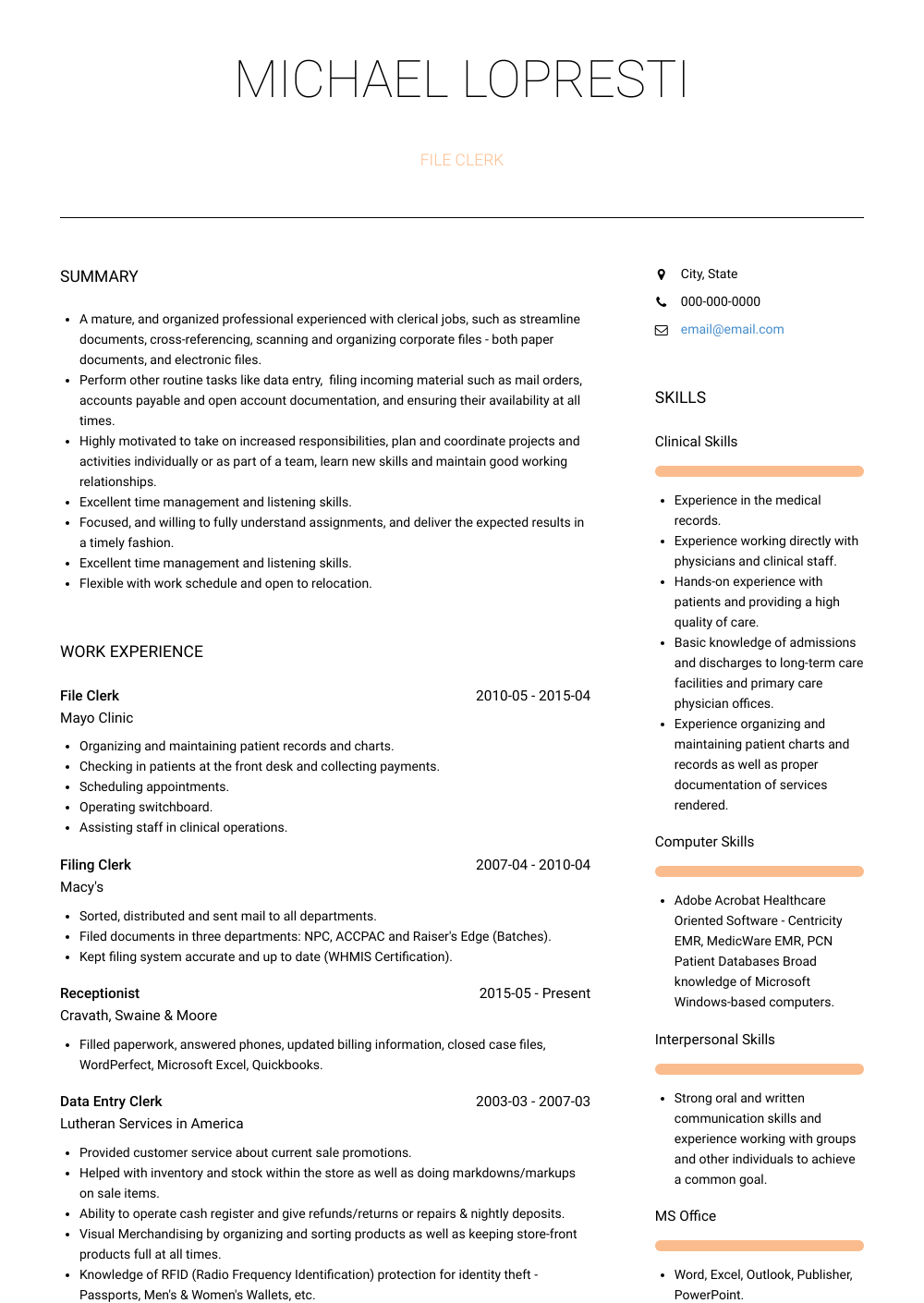 File Clerk Resume Sample