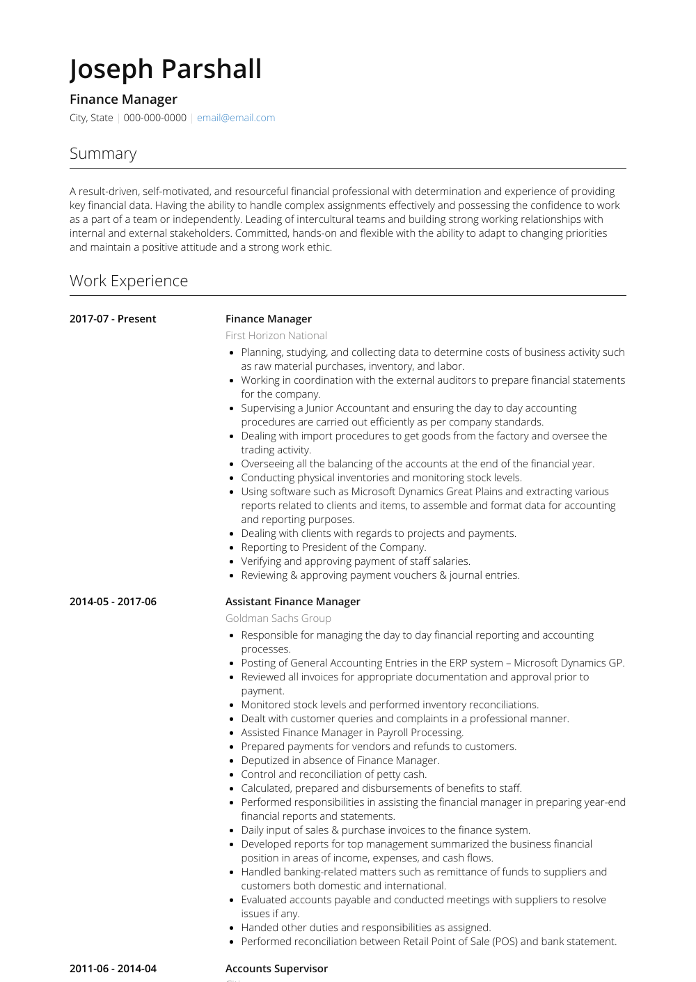 Finance Resume Sample