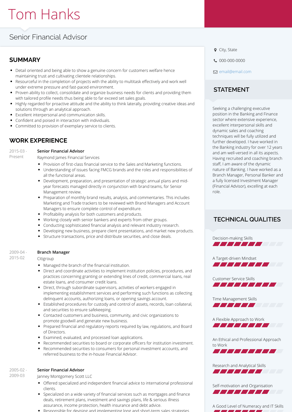 Financial Advisor - Resume Samples and Templates | VisualCV