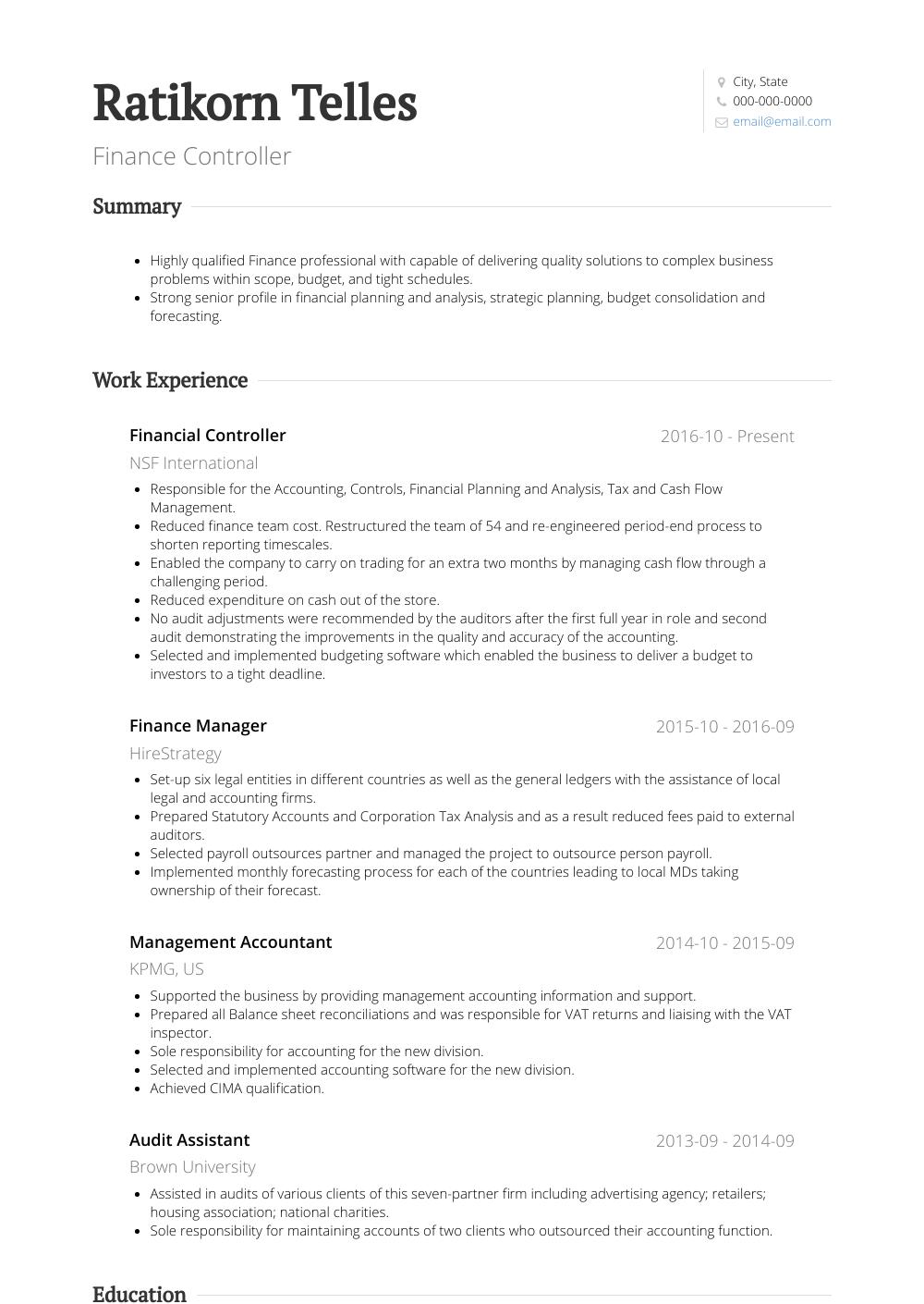 Financial Controller Resume Samples Templates Visualcv