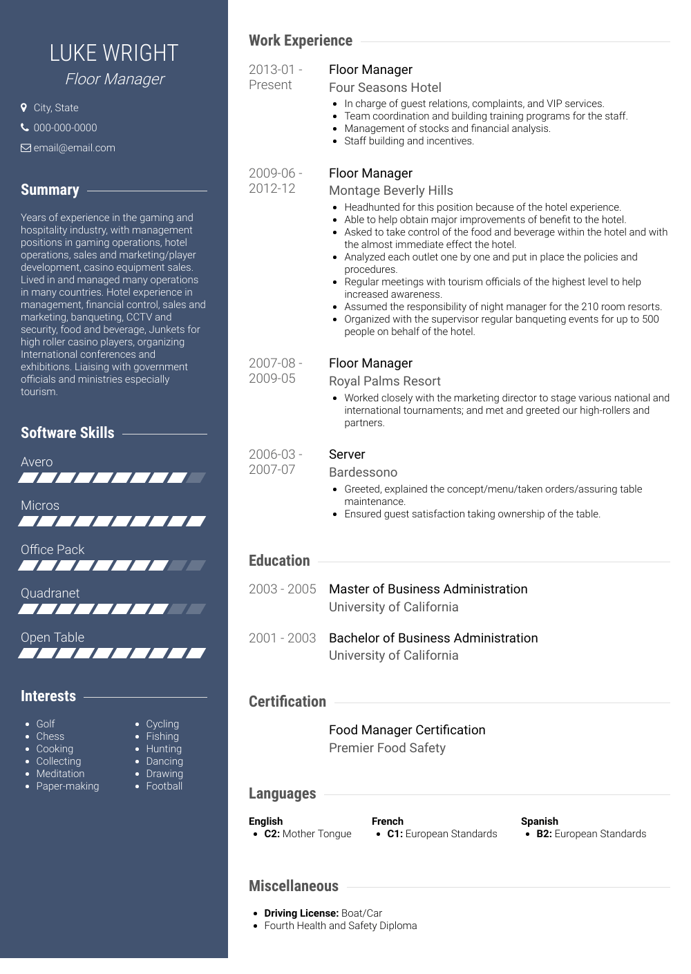 Floor Manager Resume Sample
