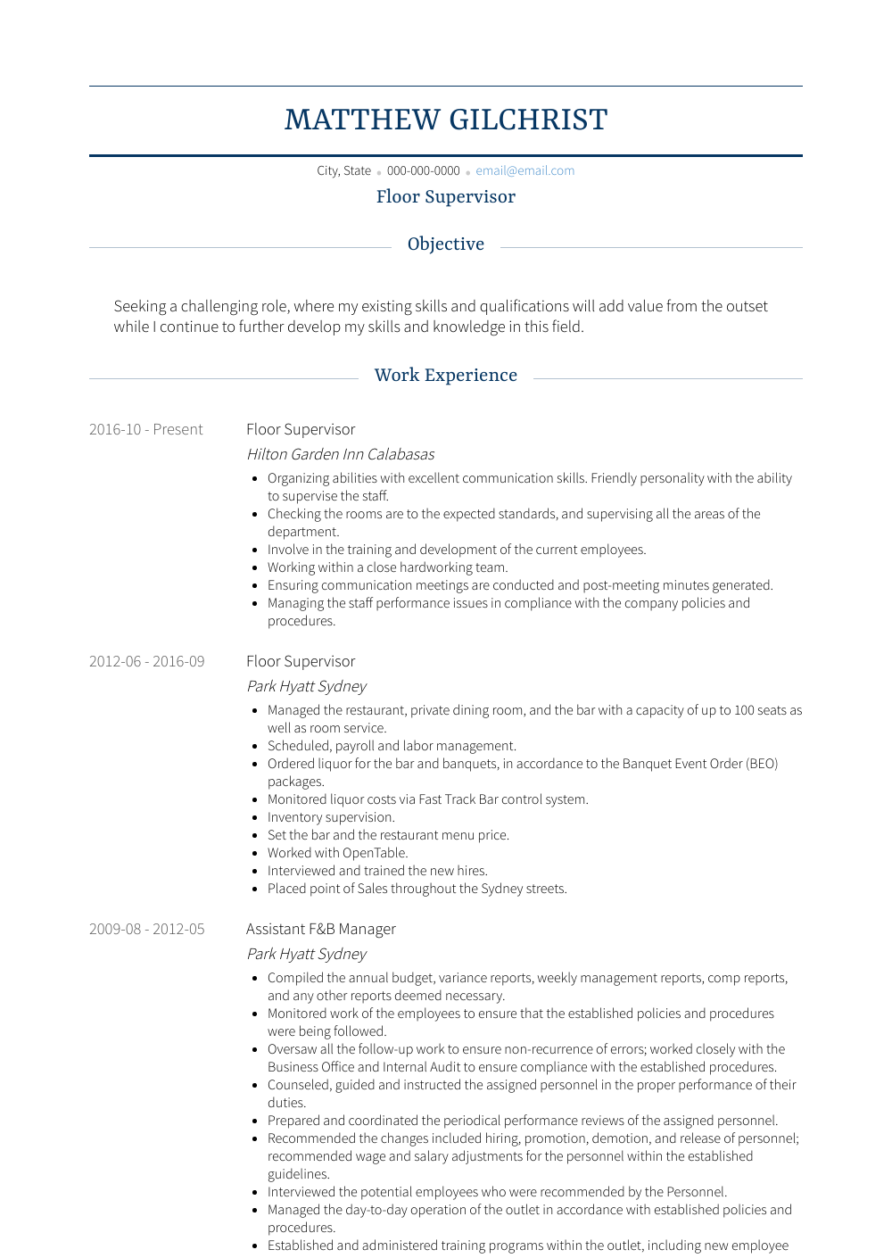 Floor Supervisor Resume Sample