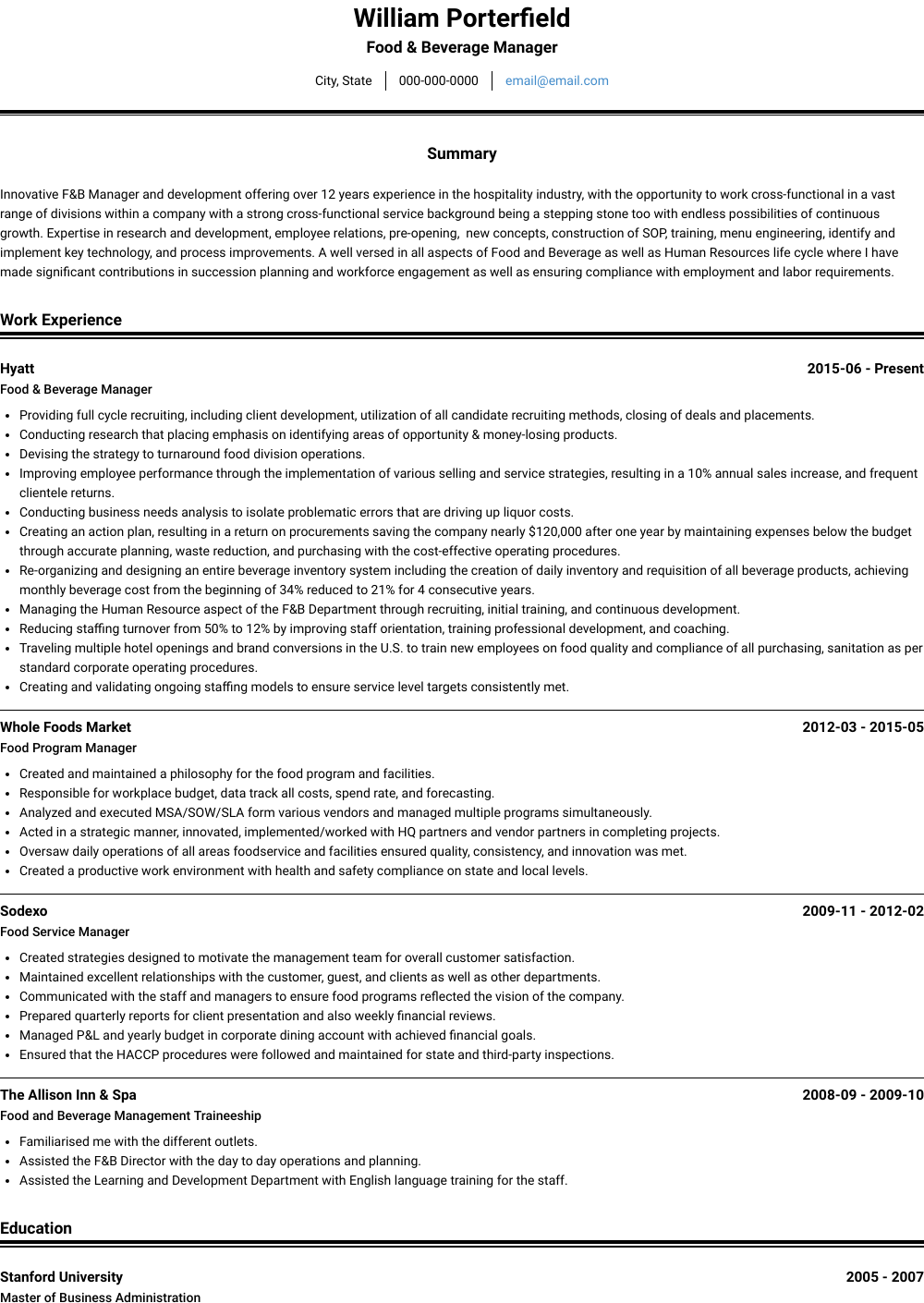 Food & Beverage Manager Resume Sample and Template