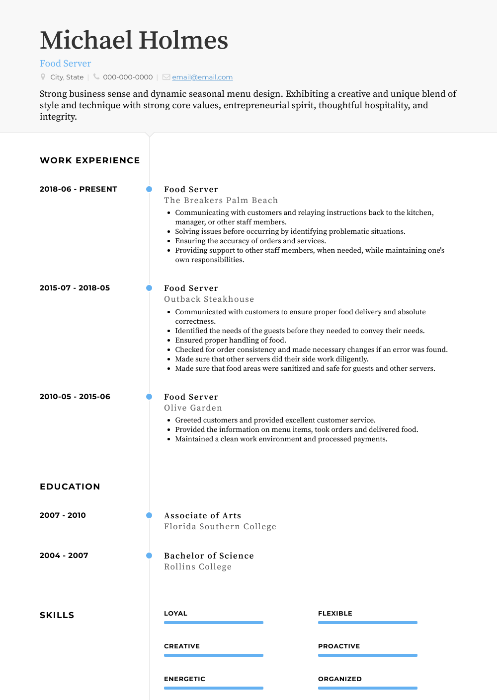Food Server Resume Sample and Template