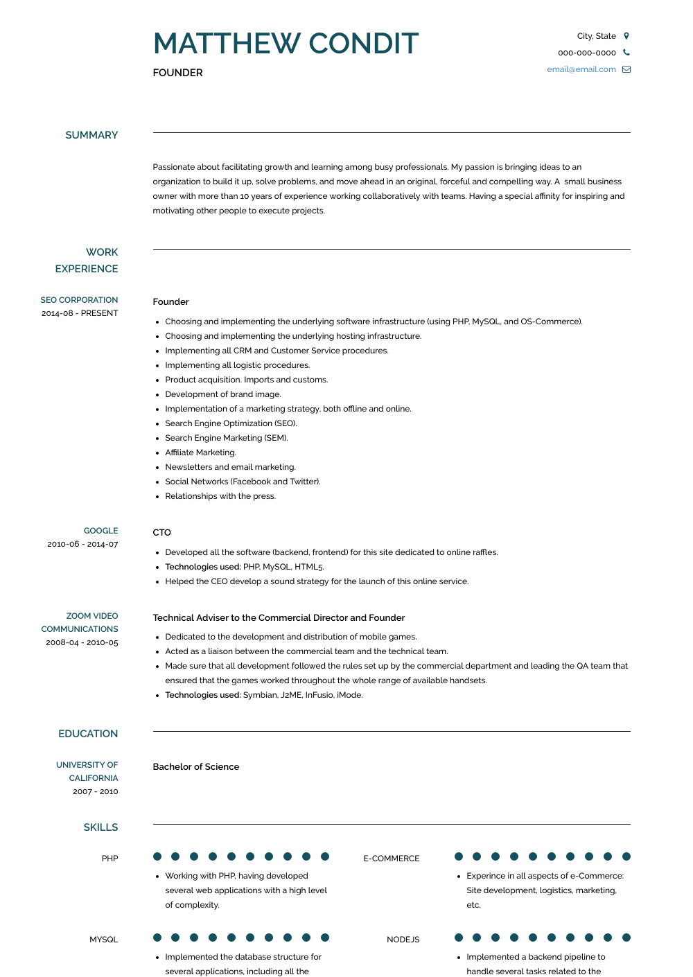 President, Ceo And Founder Resume Sample and Template