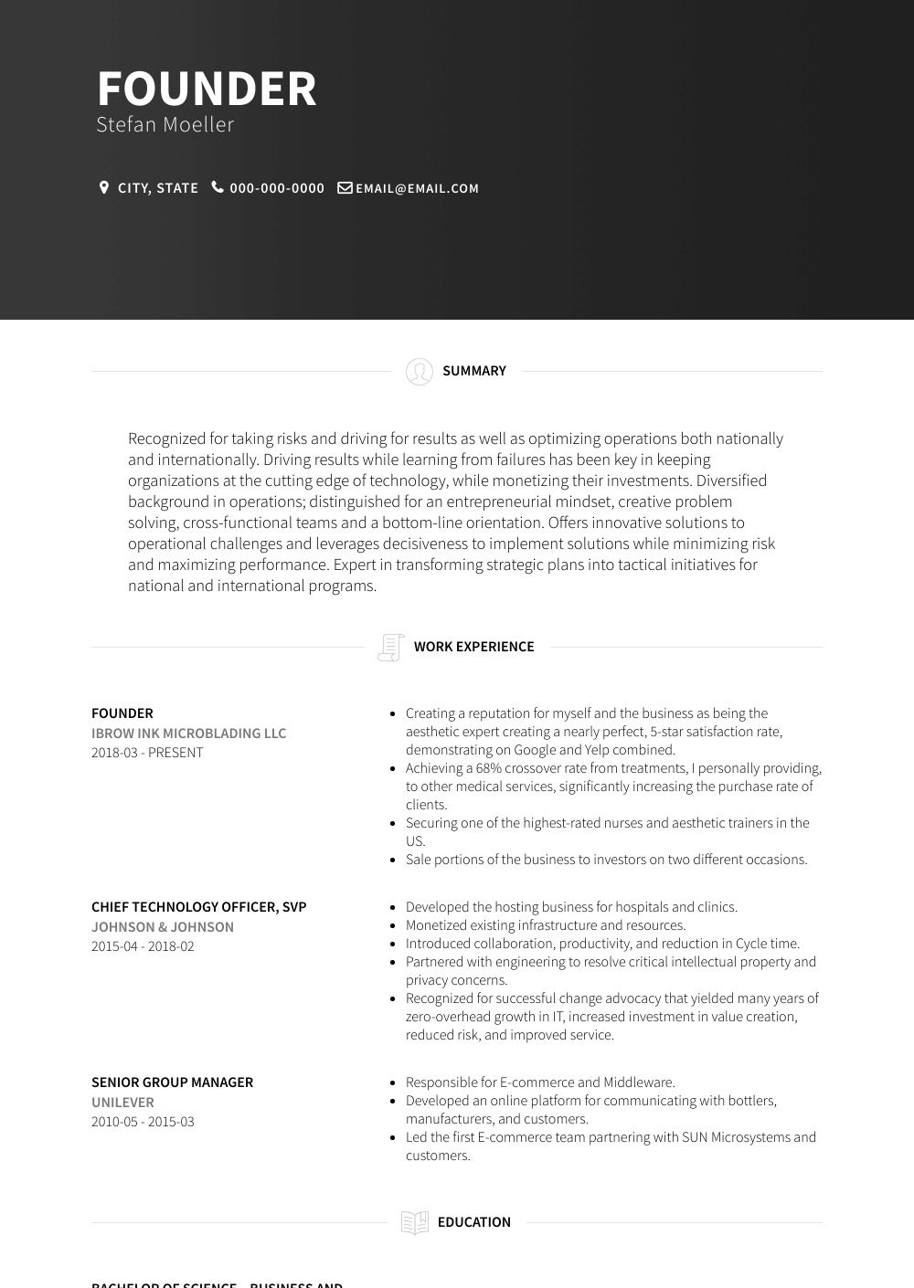 Founder Resume Sample and Template