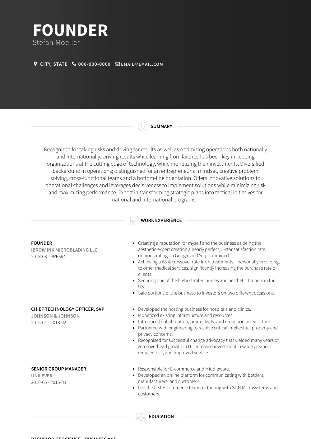 Founder Resume Samples Amp Templates Visualcv