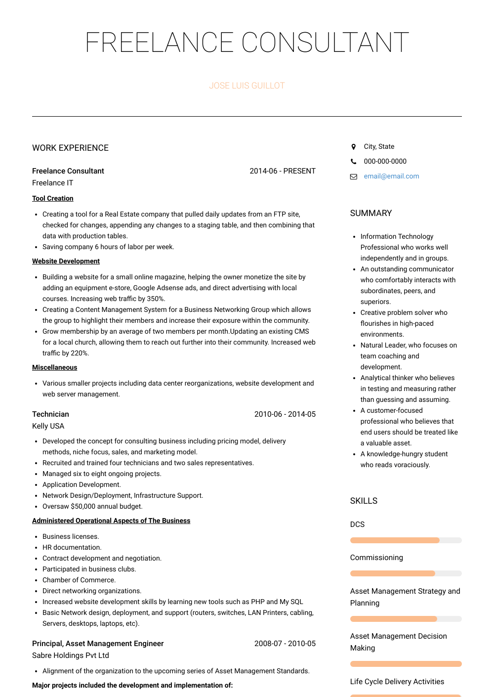 Freelance Consultant Resume Sample