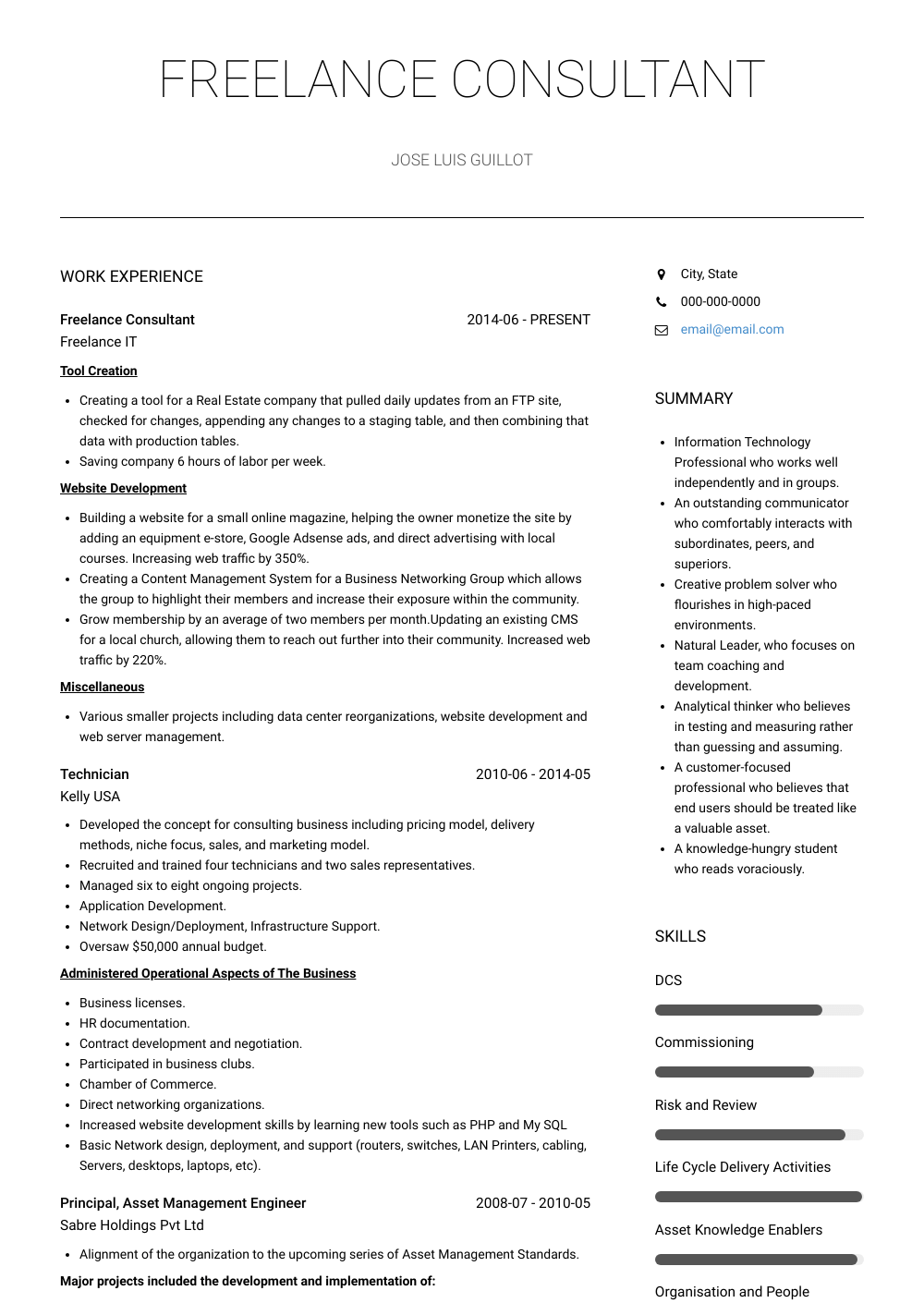 Freelance Consultant Resume Sample and Template