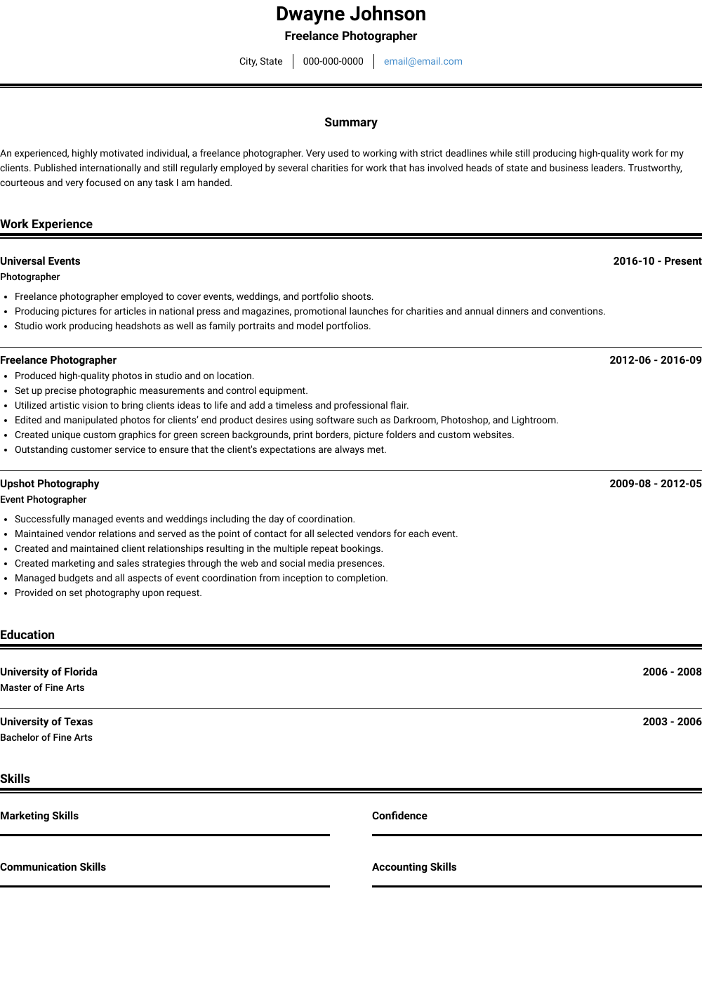 freelance photographer resume template