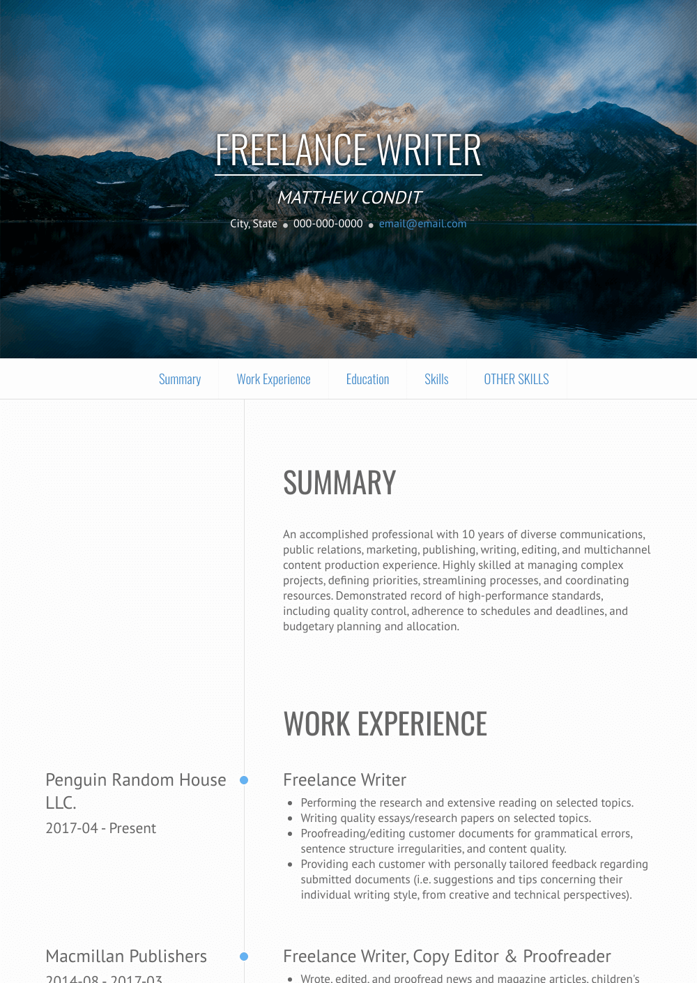 Freelance Writer Resume Sample and Template