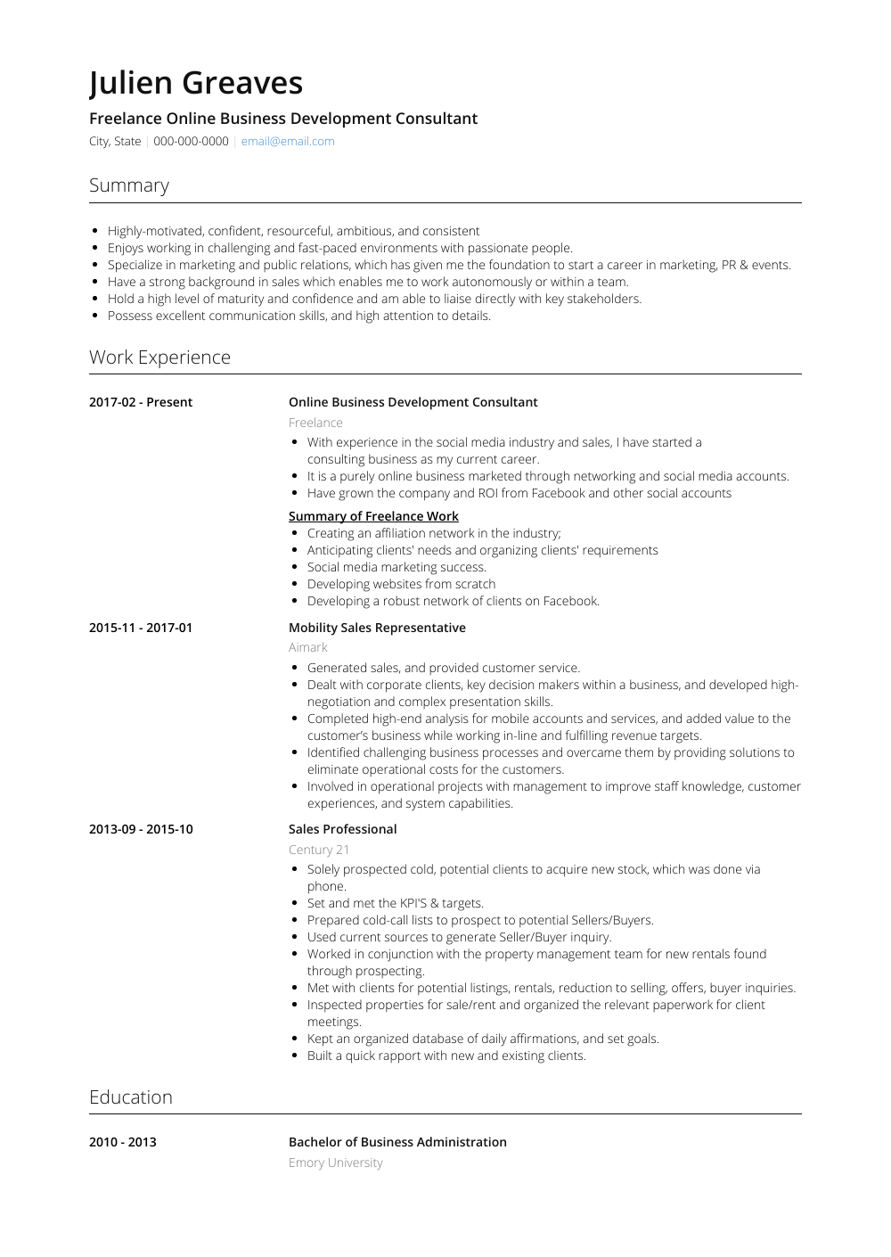 Freelance Online Business Development Consultant Resume Sample and Template