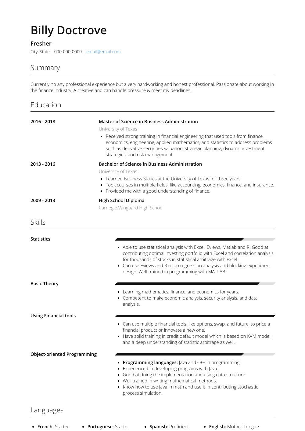 Fresher Resume Sample and Template