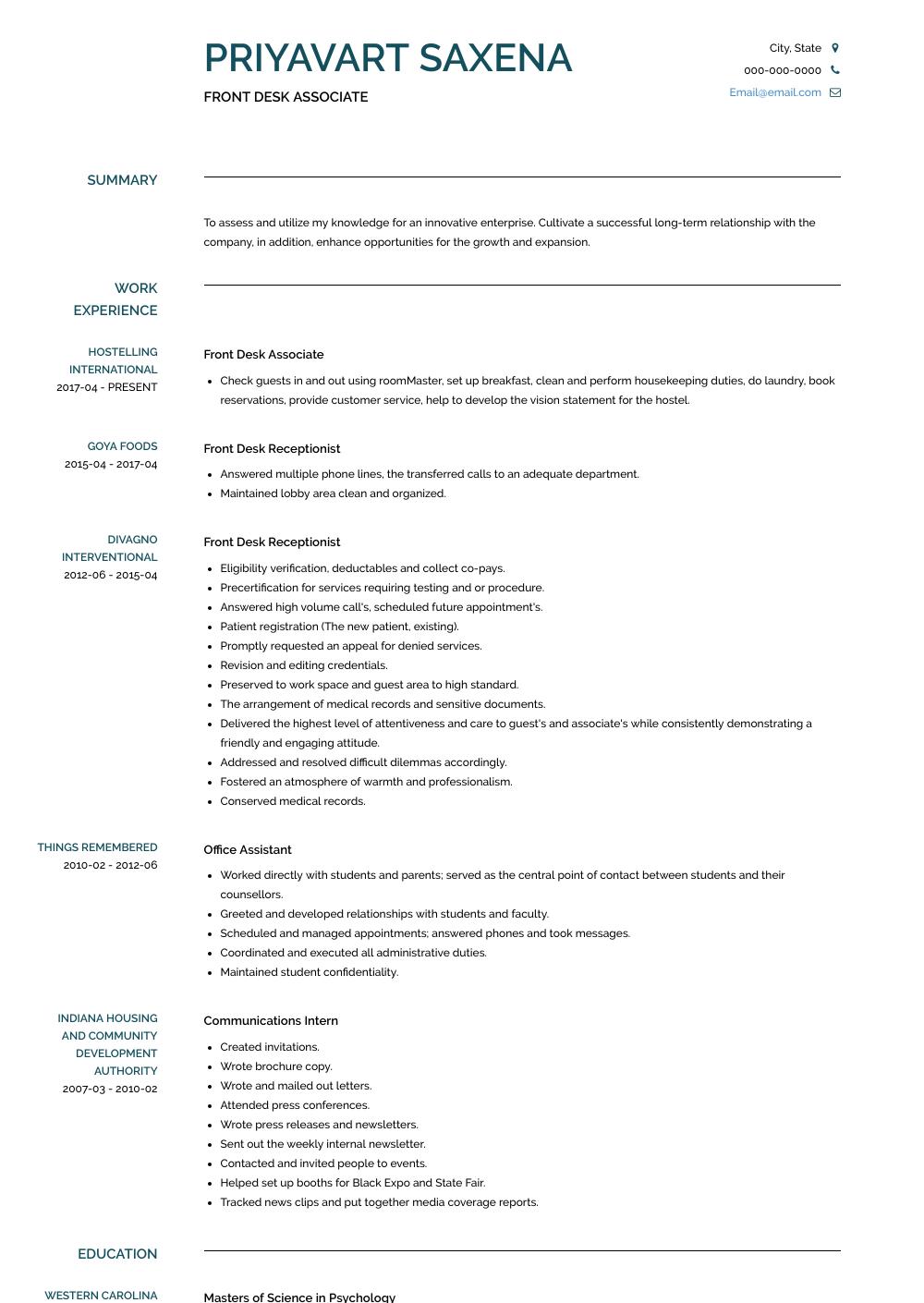Front Desk Associate Resume Sample