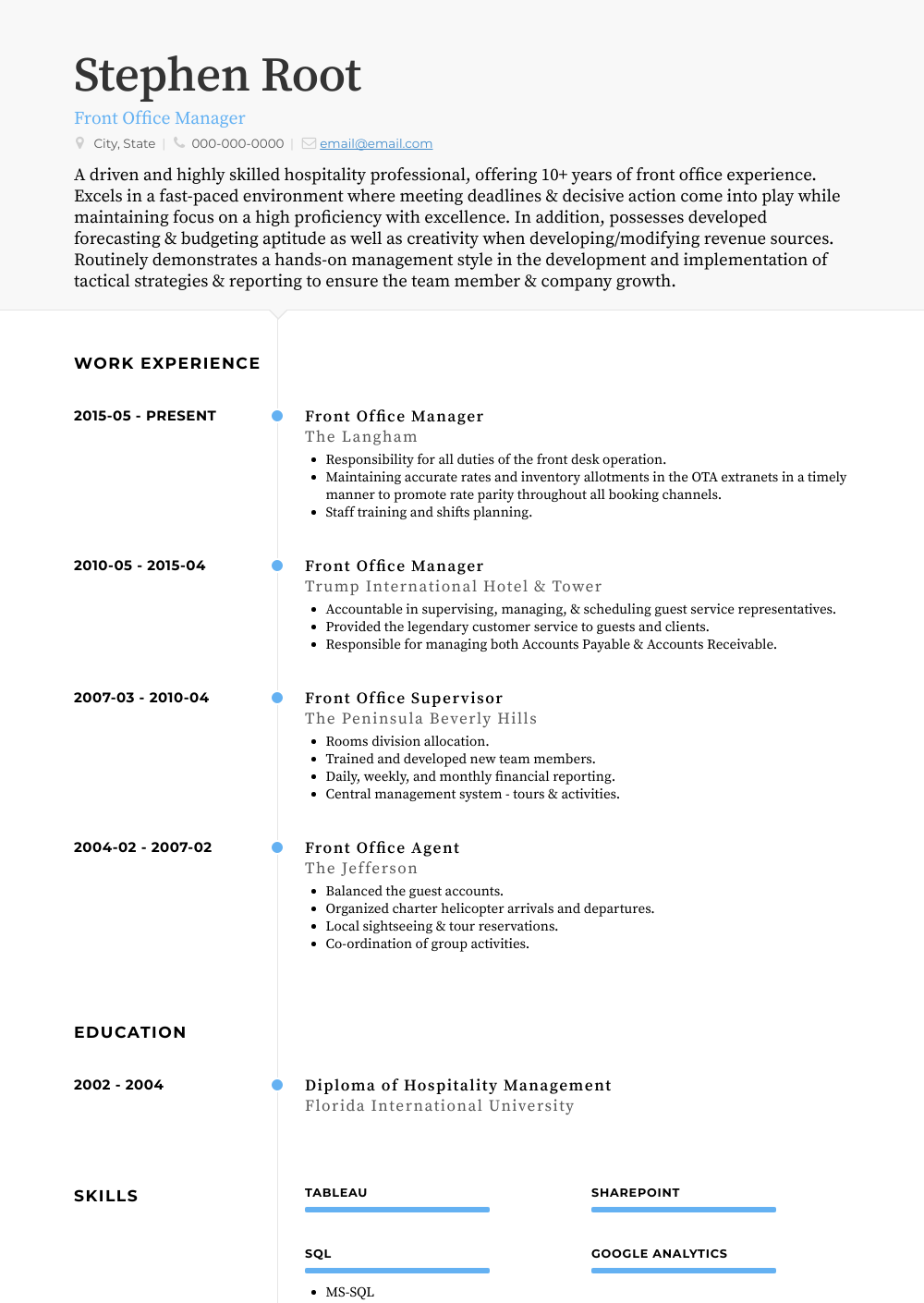 Front Office Manager Resume Sample and Template