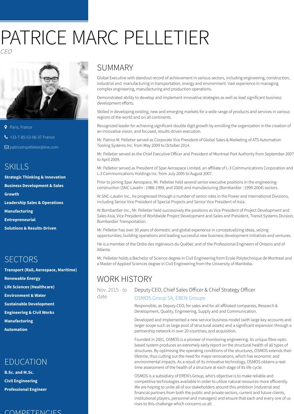 President & Founder Resume Sample