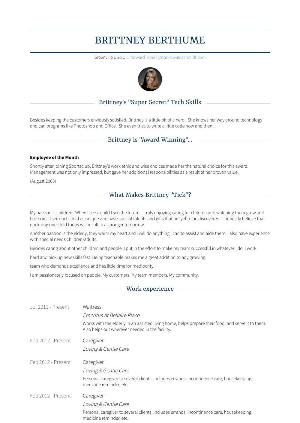Caregiver - Resume Samples & Templates | VisualCV