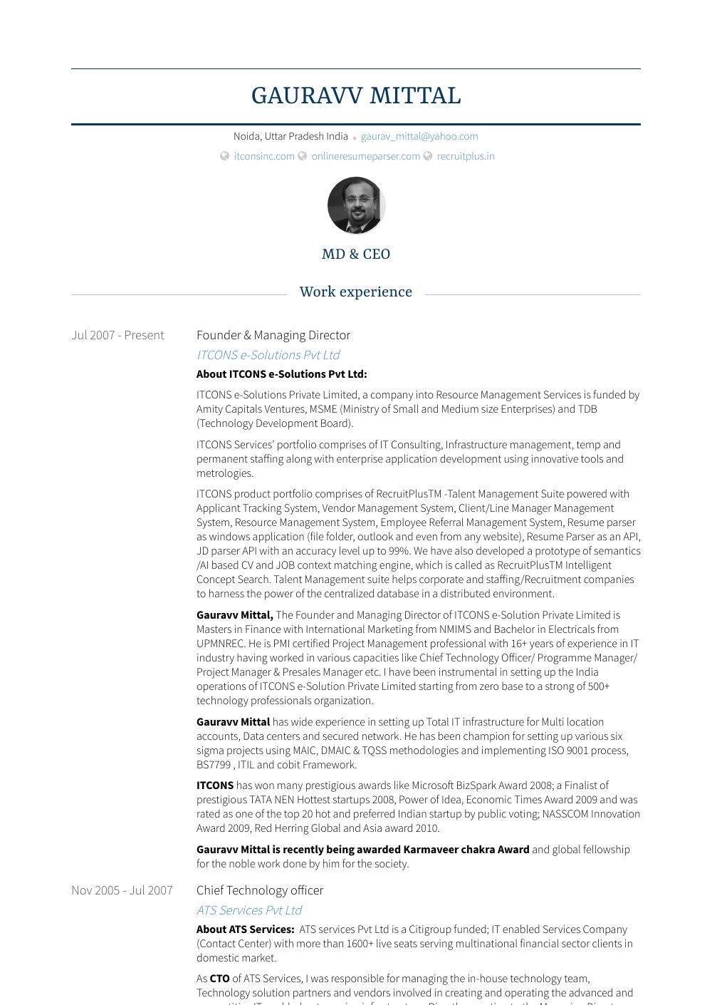 Founder & Managing Director Resume Sample