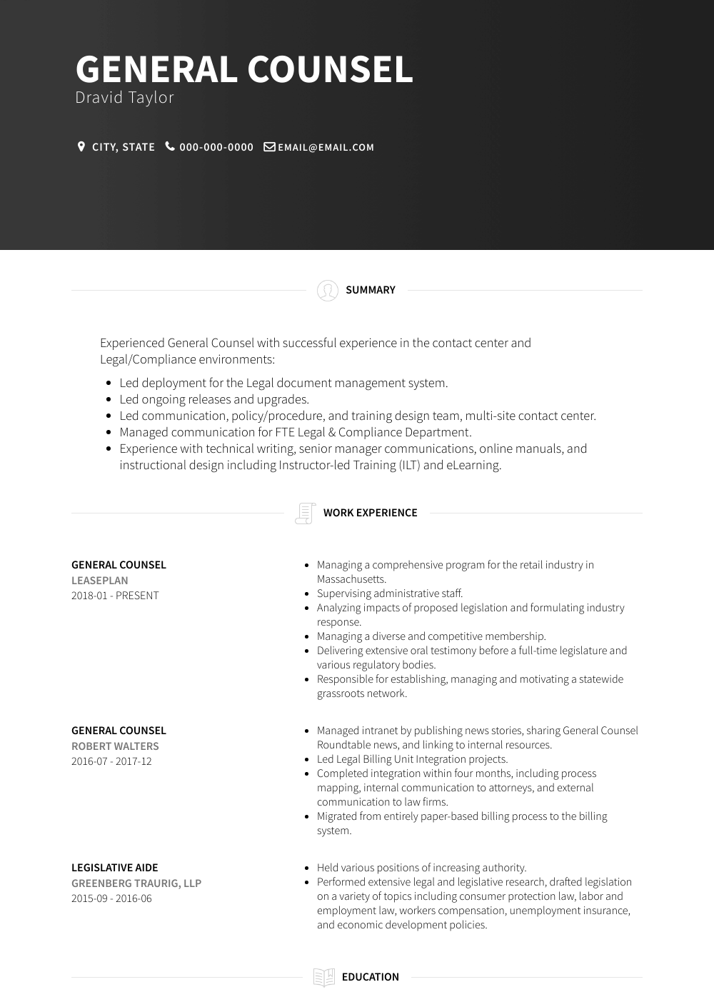 General Counsel Resume Sample and Template