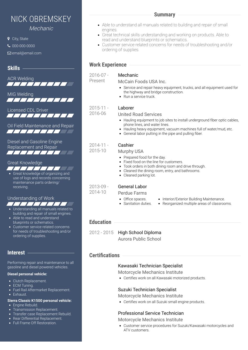 Mechanic Resume Sample and Template