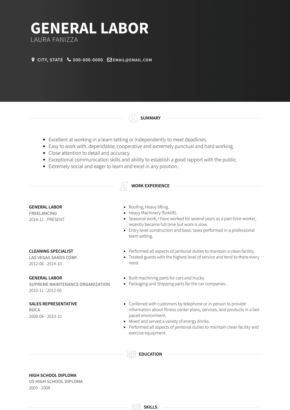 General Labor Resume Sample and Template