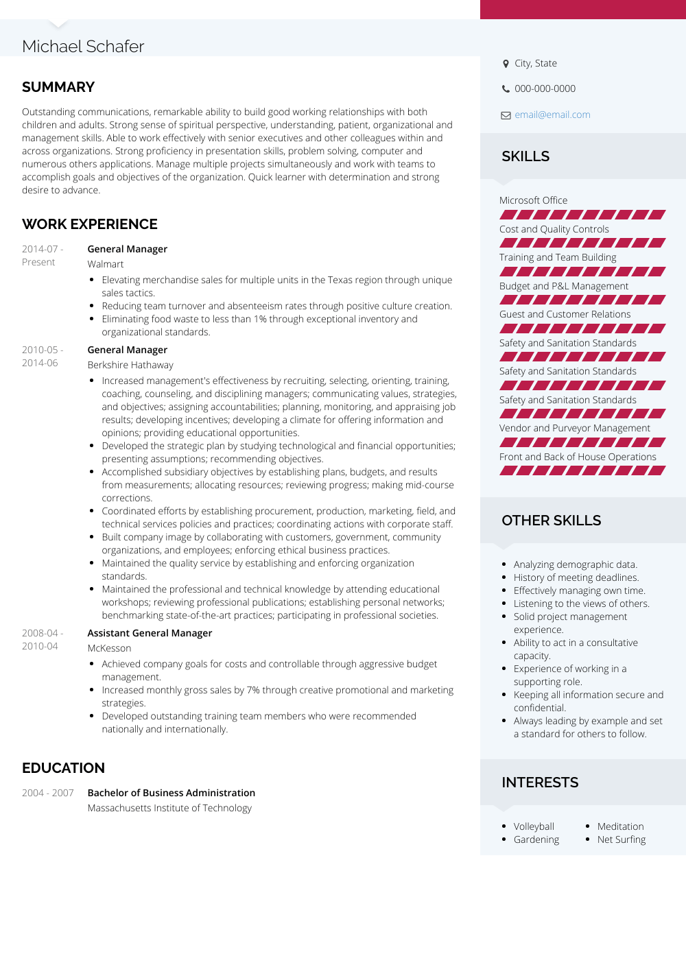 General Manager - Resume Samples and Templates | VisualCV