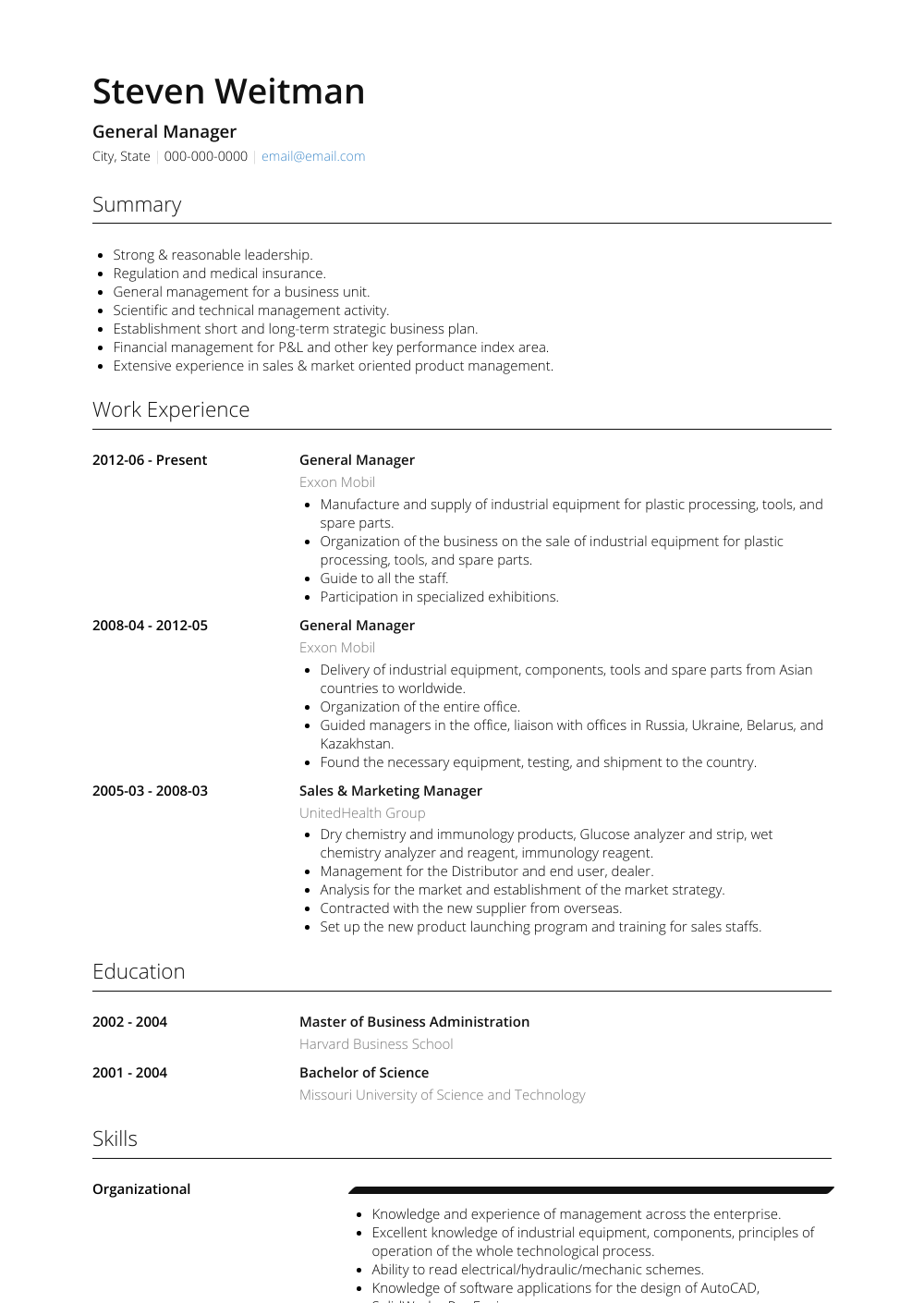 General Manager Resume Sample and Template