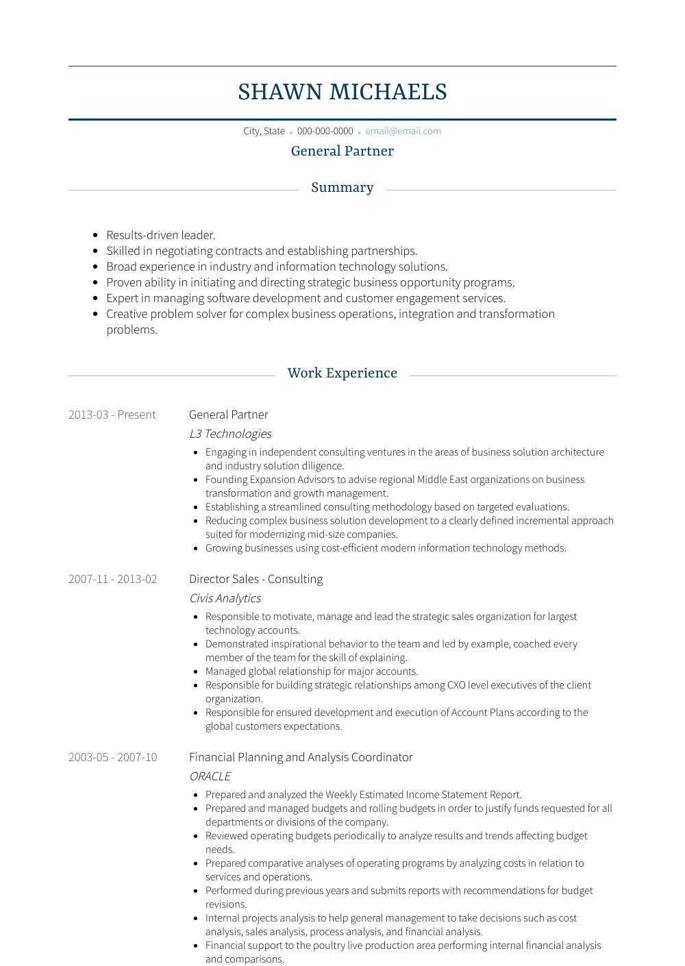 General Partner Resume Sample