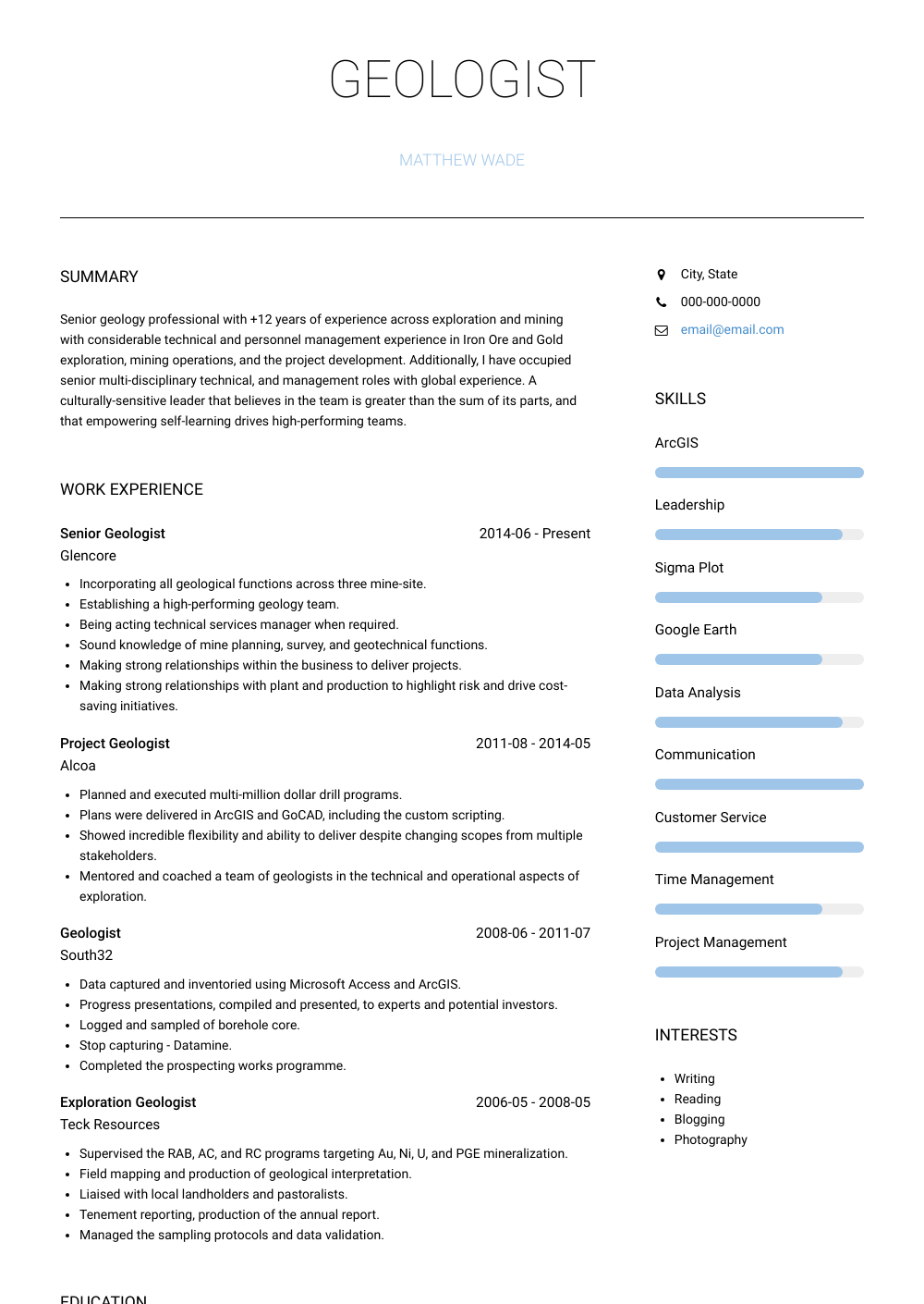 Senior Geologist Resume Sample and Template