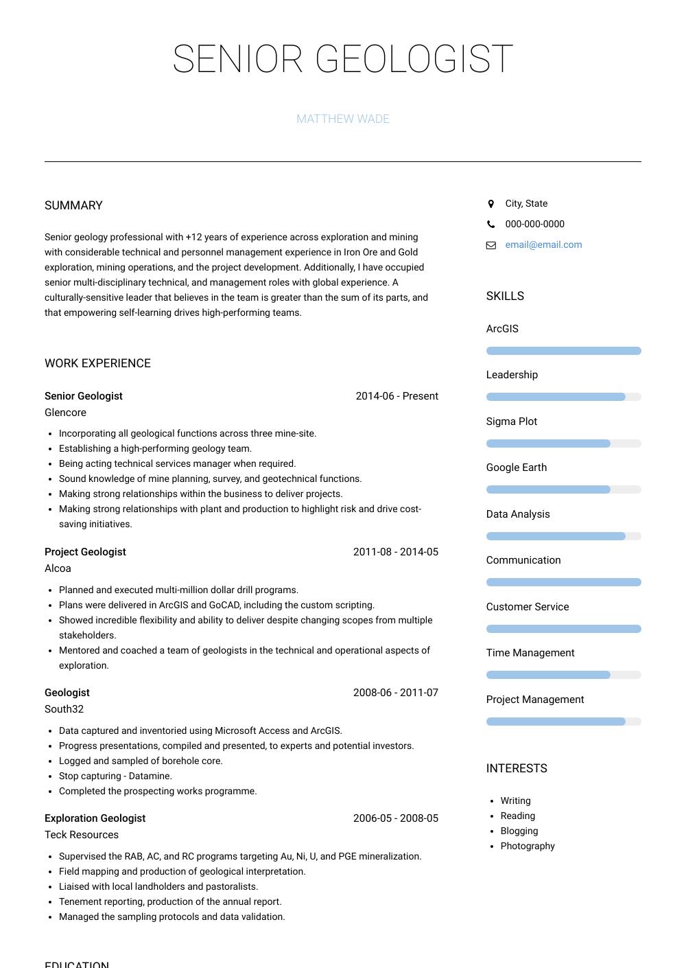Geologist Resume Sample