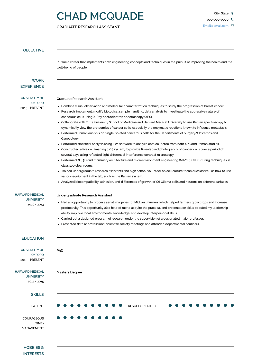 Graduate Research Assistant  Resume Sample and Template