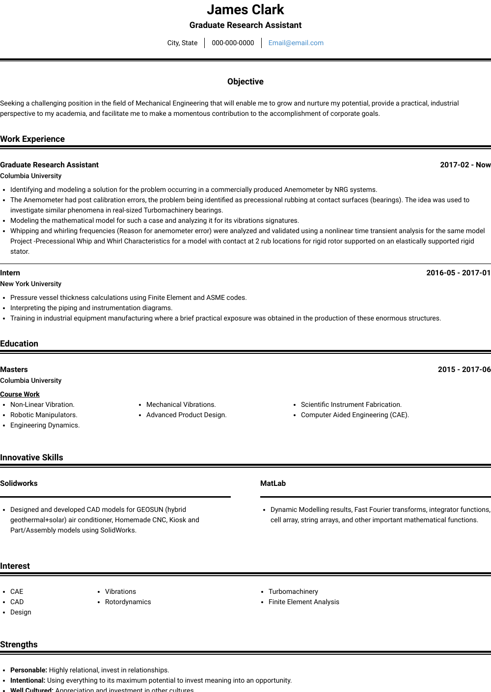 Graduate Student - Resume Samples & Templates | VisualCV