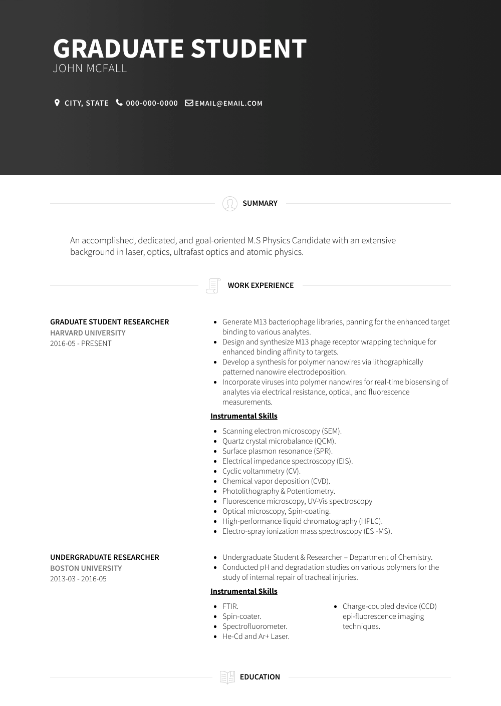 Graduate Student Resume Sample and Template