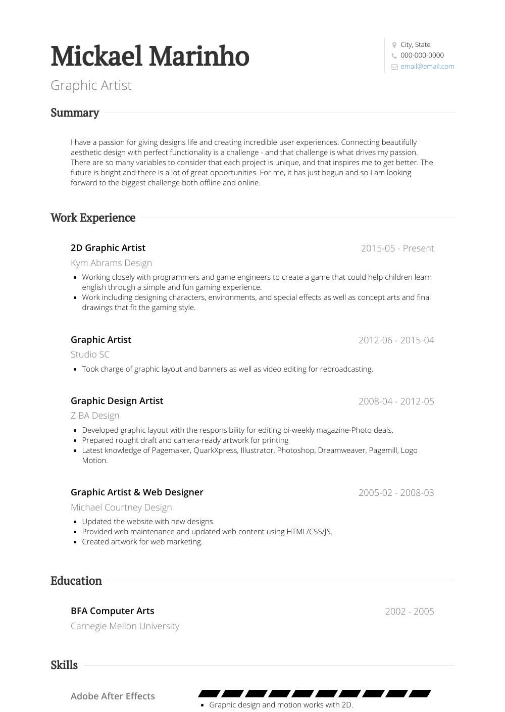 Graphic Artist Resume Samples And Templates Visualcv
