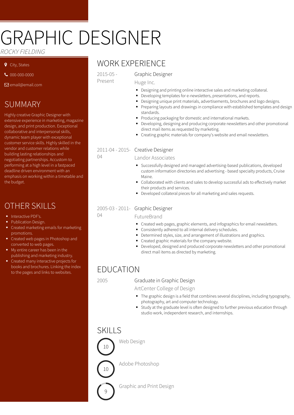 Graphic Design Resume Sample and Template
